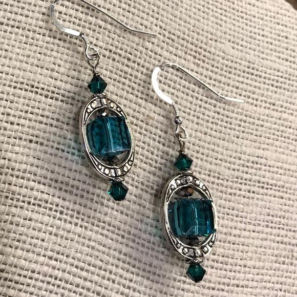 ec5fbf1c3d97 Jewelry - Genuine Swarovski teal indicolite cube earrings